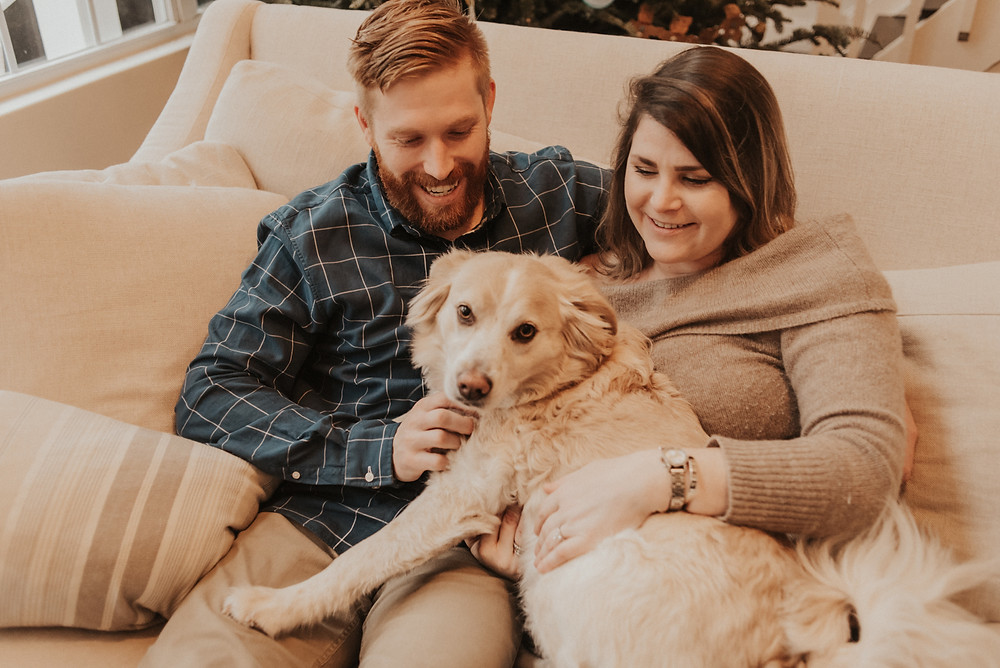 couple holding in the sofa with their dog