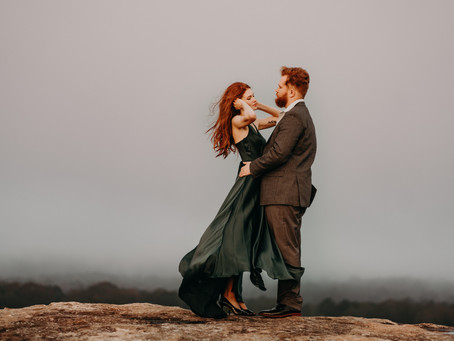 Romantic Adventure Sunrise Engagement Session at Arabia Mountain - Destination Wedding Photographer