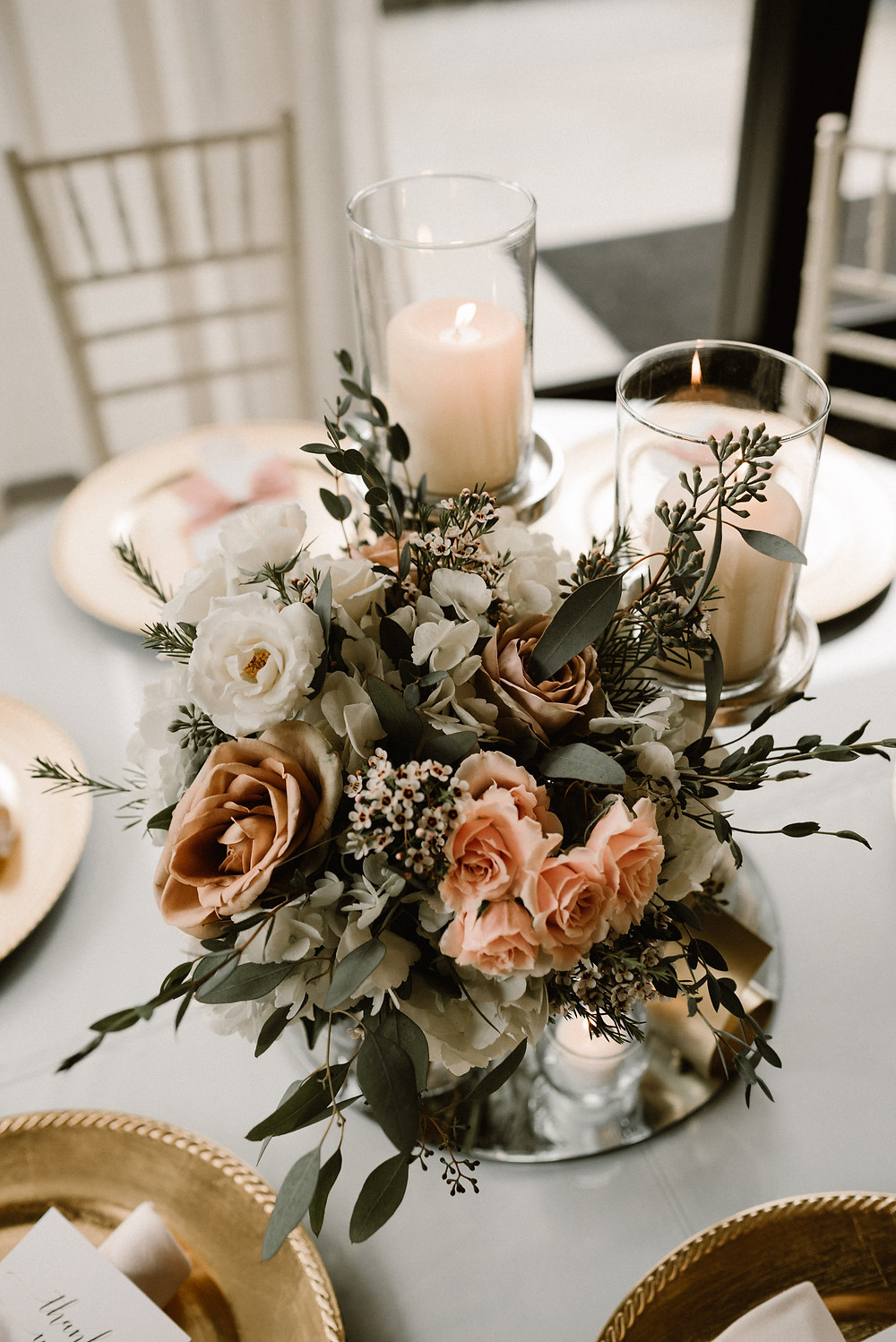wedding reception decor with candles