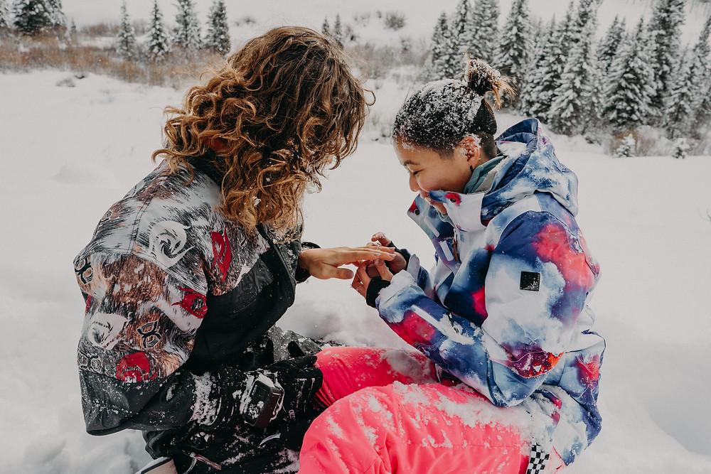 LGBTQI+ wedding proposal in the snow, aspen colorado