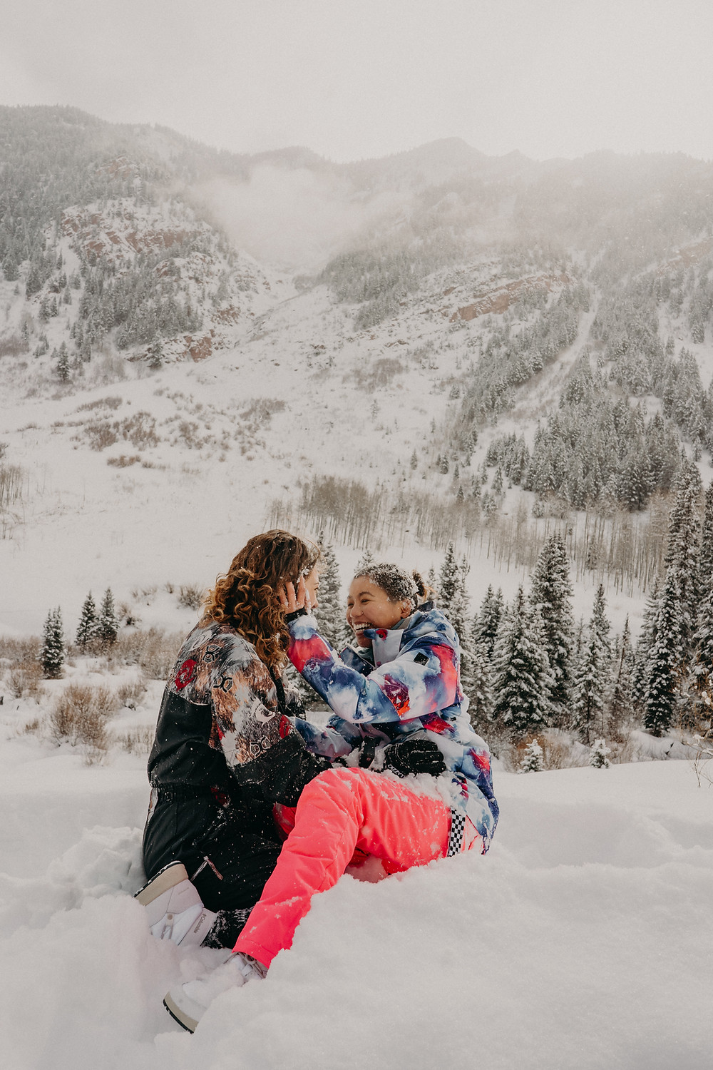 LGBTQI+ couple proposal in the snow