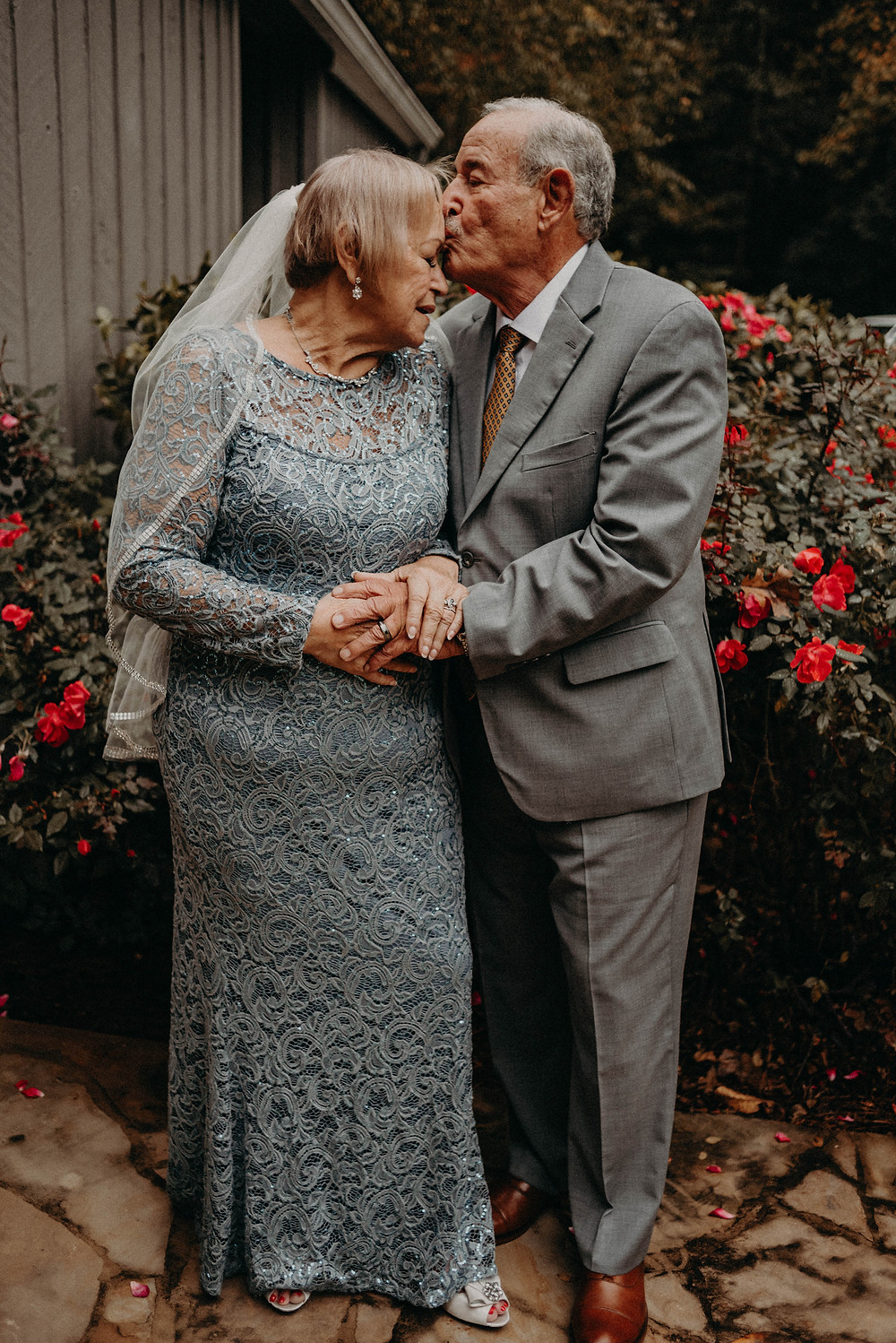 Elderly couple at their wedding