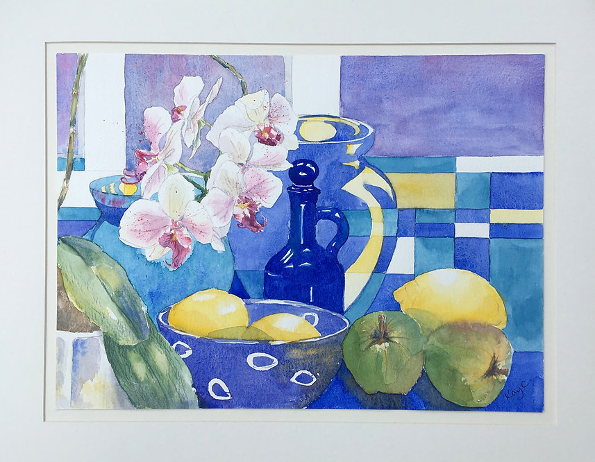 Blue glass and orchid.JPEG