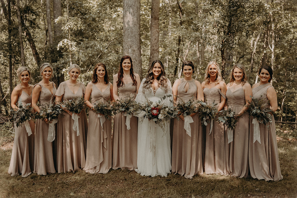 Bride and bridesmaids at Cherry Hollow Farm GA