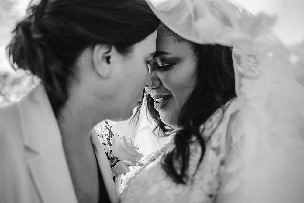 Lesbian couple black and white wedding portrait