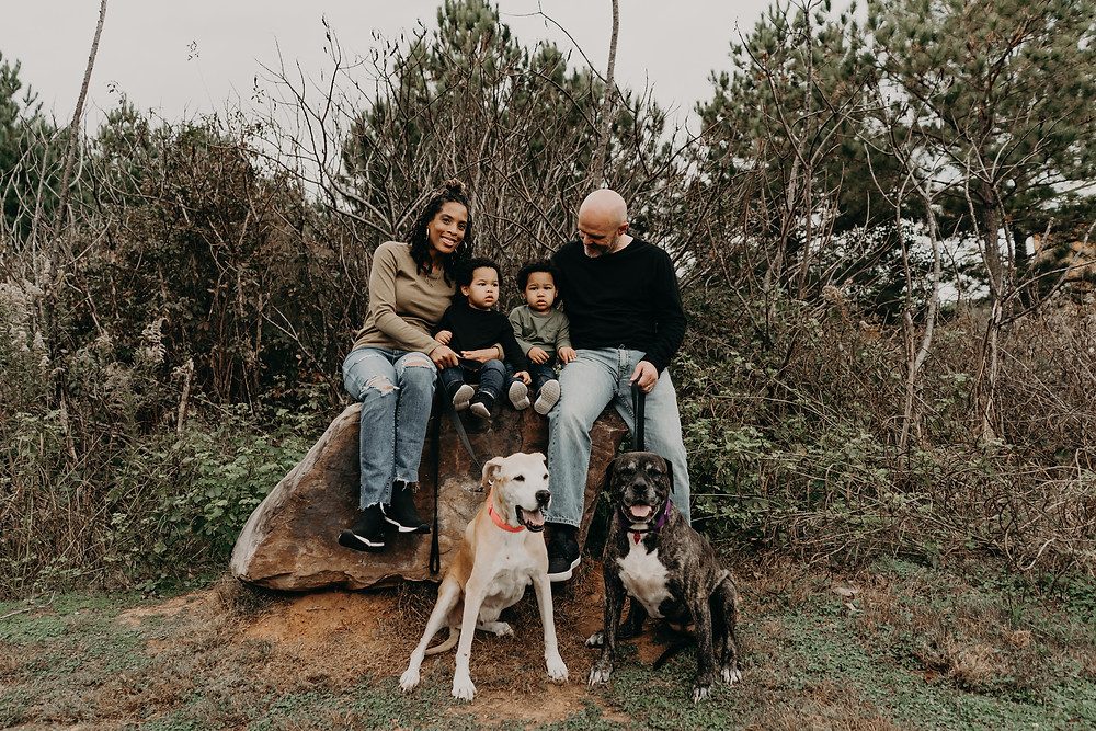 familt of four posing with their 2 dogs