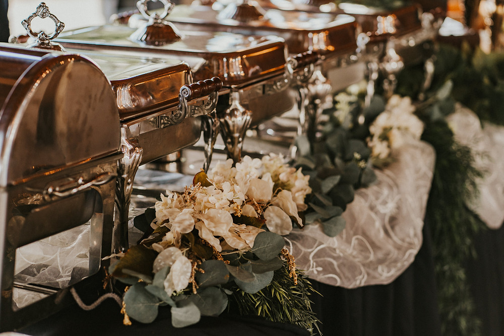 wedding reception buffet details, catering with white flowers