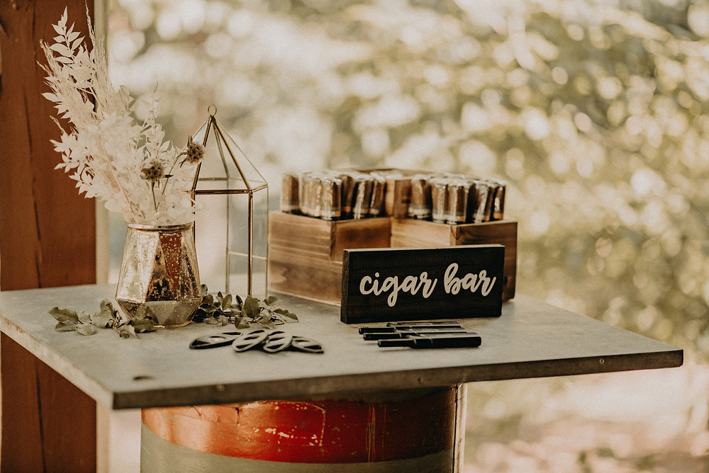 cigar bar at wedding reception