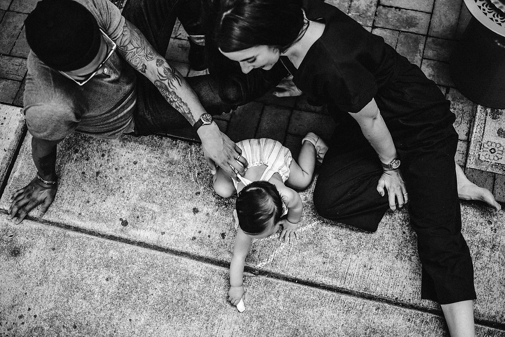 Black and white family lifestyle photography