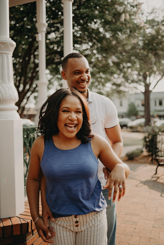 Couple having fun in Marietta Square, GA