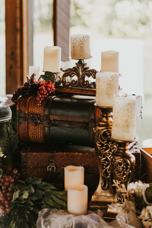 rustic wedding reception decor details candles, grapes