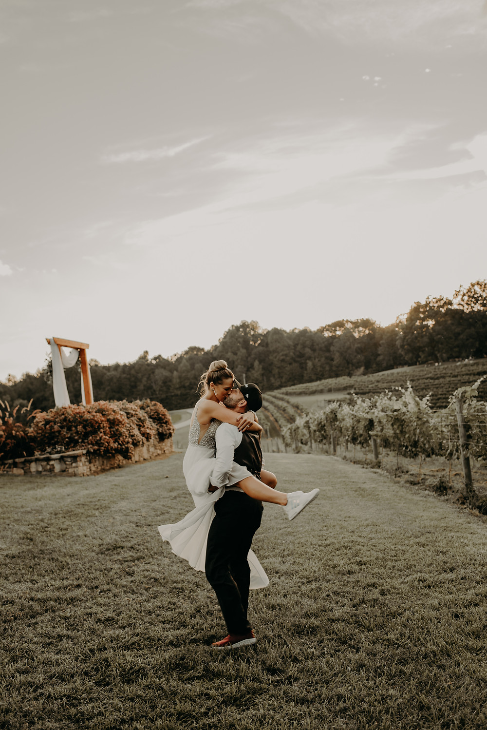 rustic vineyard wedding couple's portraits