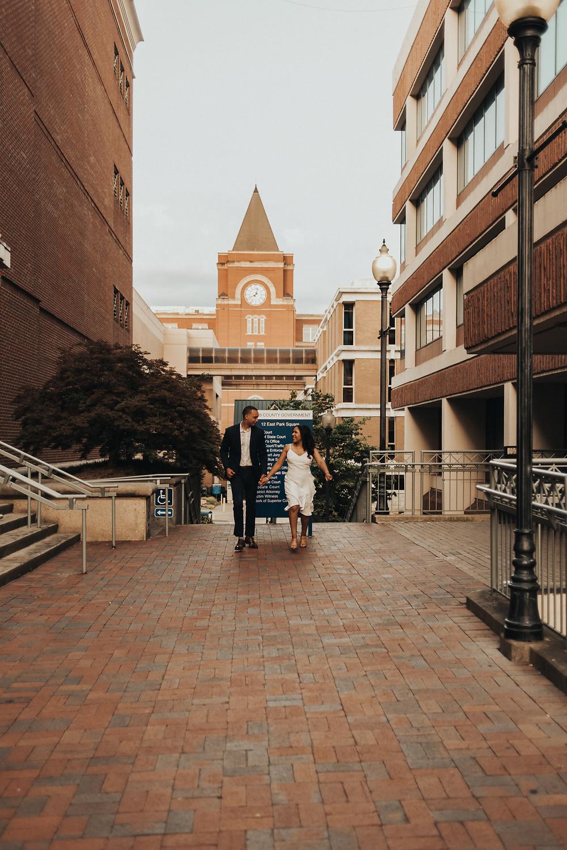 Couple's engagement session in Marietta Square, GA. Atlanta Wedding Photographer