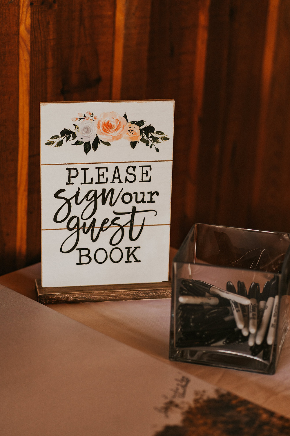 wedding reception rustic decor, guest book