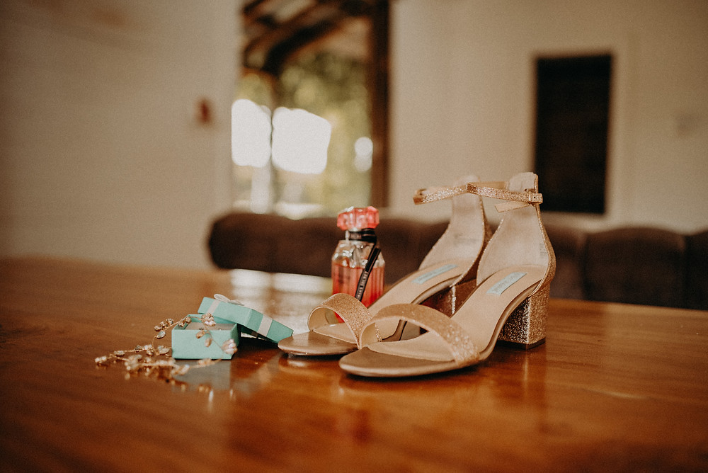 Bride shoes and accessories. Cherry Hollow Farm wedding, GA