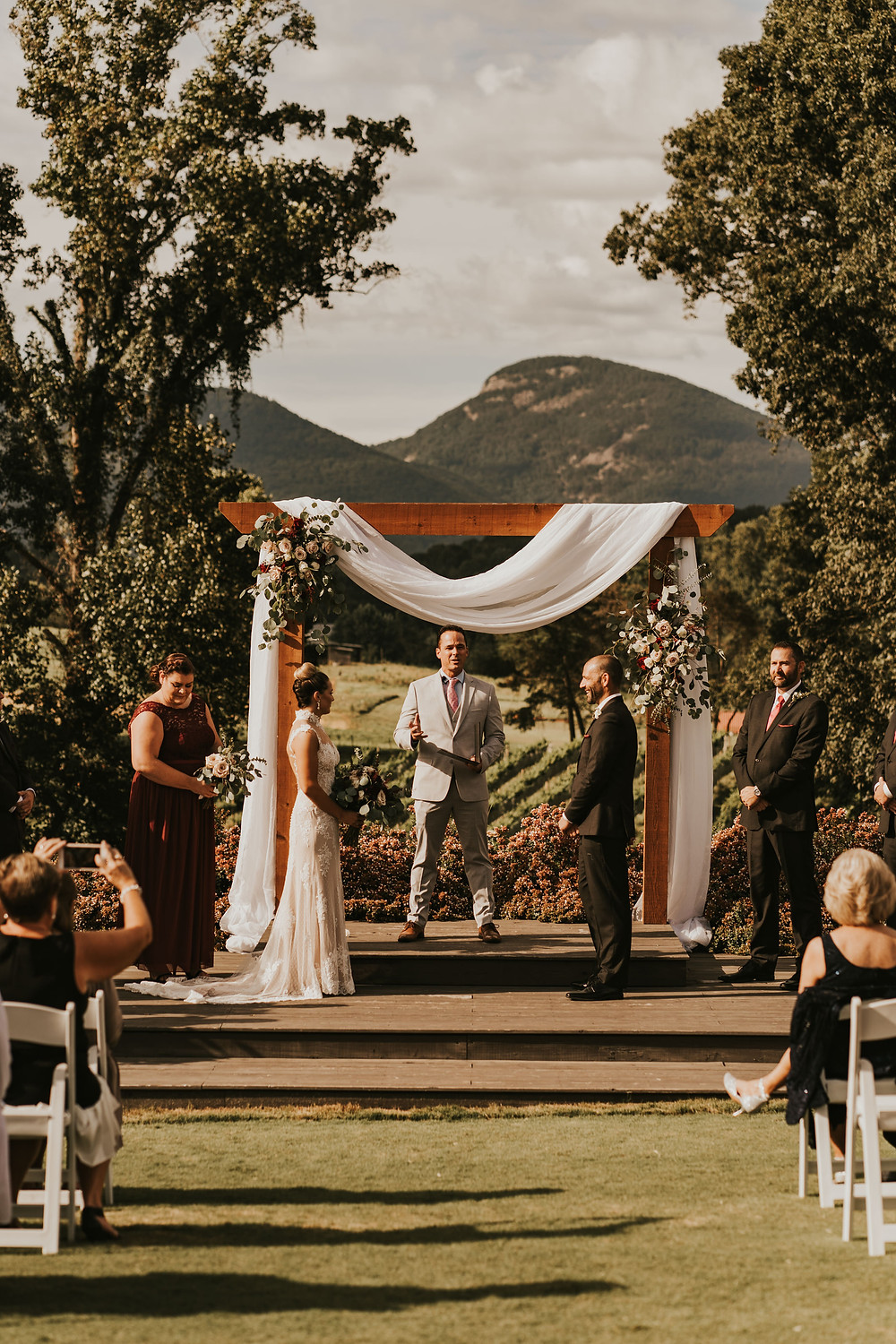 rustic wedding ceremony in a vineyard