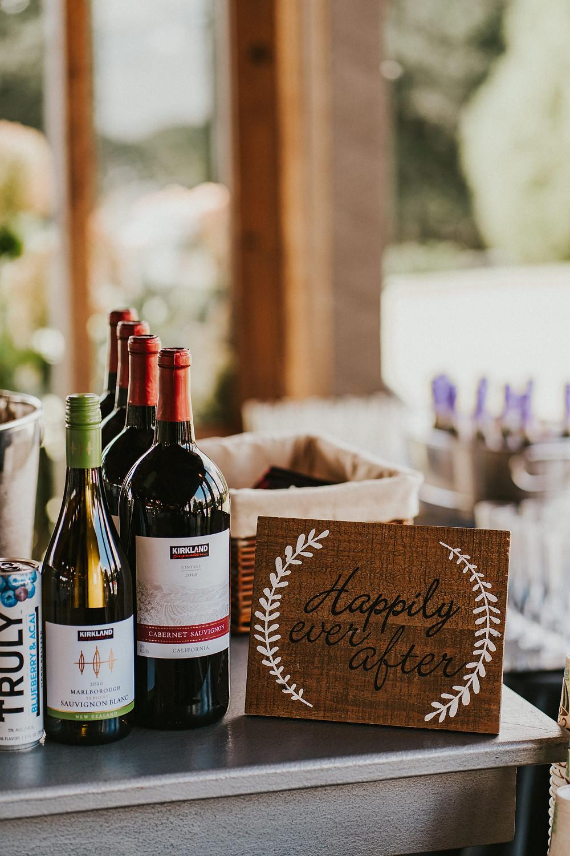 wedding reception decor details, drink station