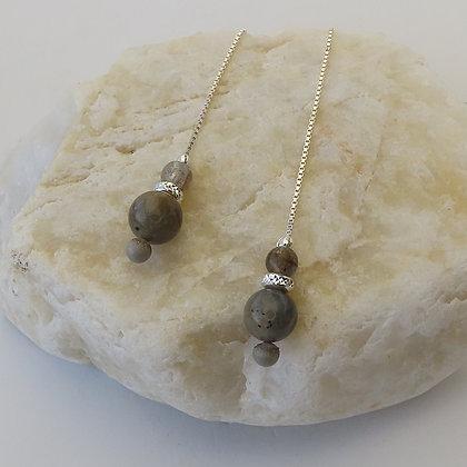 Chaines d'oreilles Echantillon Minéral Labradorite argent 925 et béton