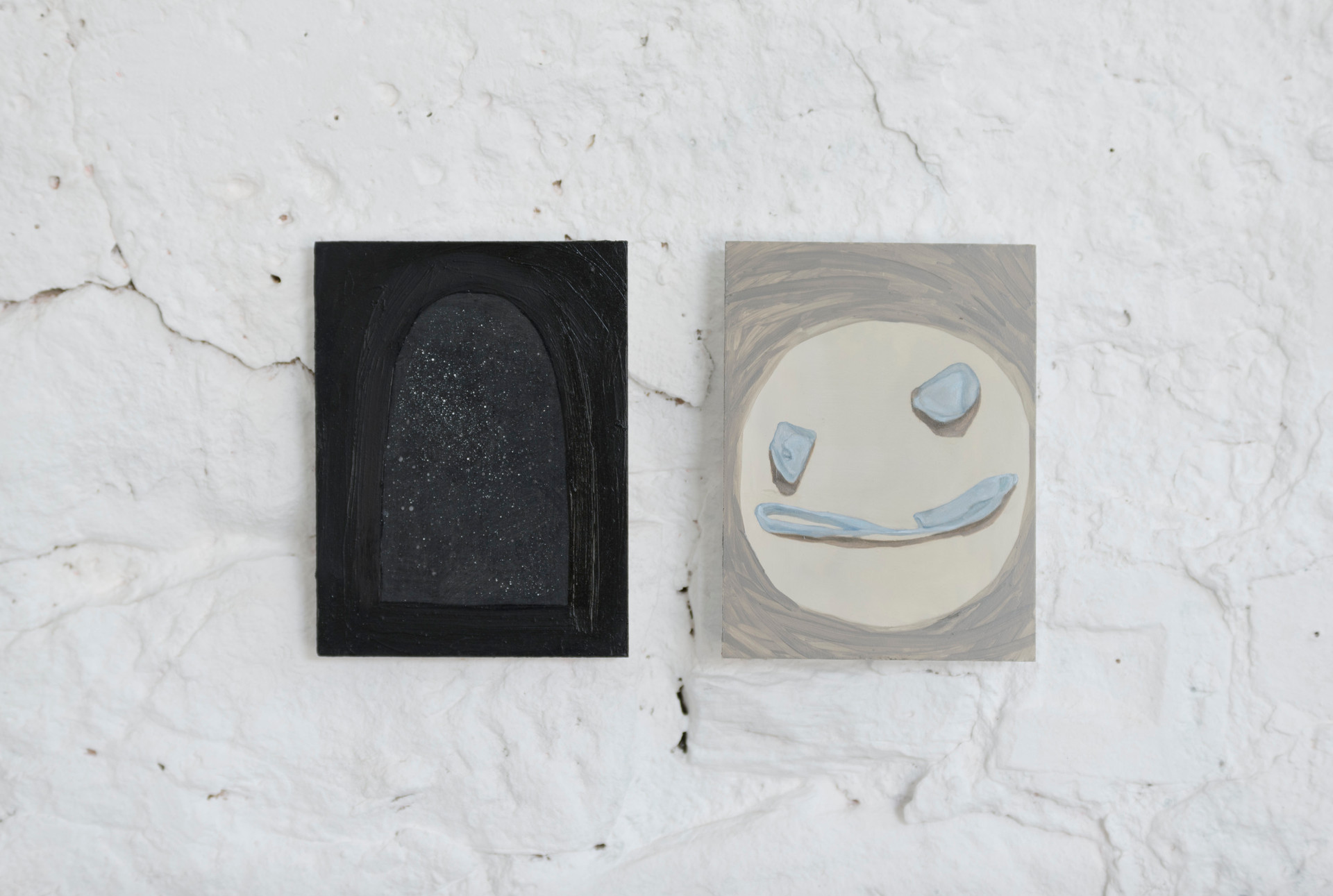 smiley contemplates the universe, 2017, oil on board, 20 x 15cm each