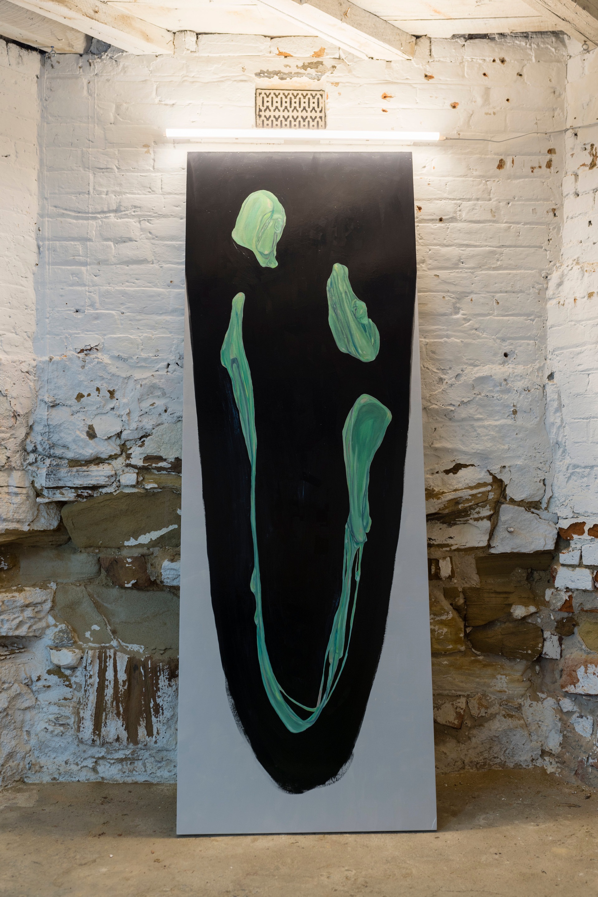 Gum Face, 2017, oil on board and LED light, 205 x 72 cm