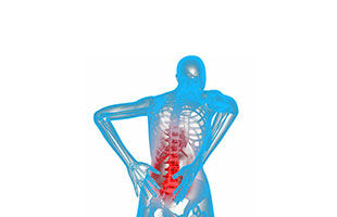 A blue skeleton holding a red inflamed area on its back.