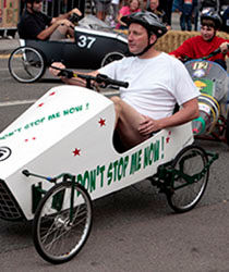 Contestants in New Milton's pedal car race