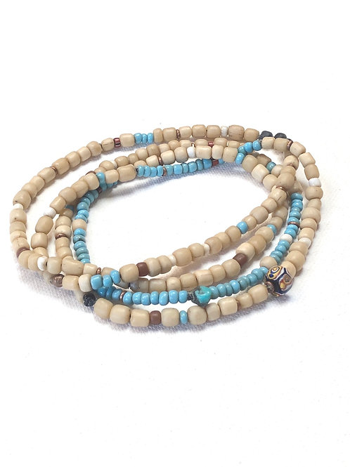double wrap trade bead necklace in sand