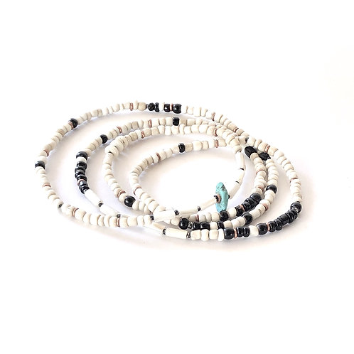 trade bead necklace in wampum white