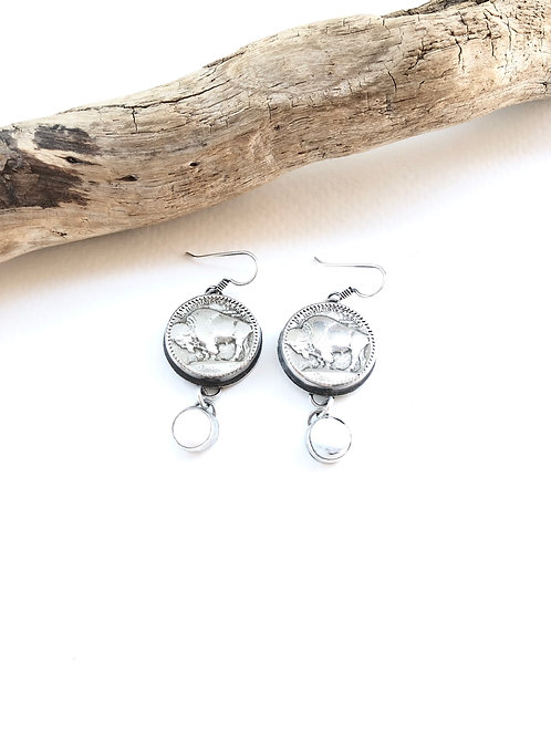 white buffalo nickel earrings