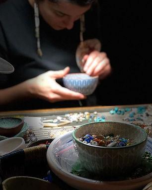 sifting through beads