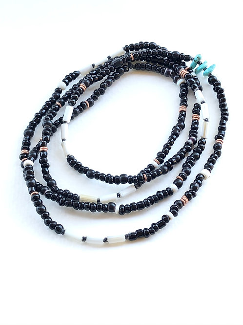 double wrap trade necklace in white wampum and black