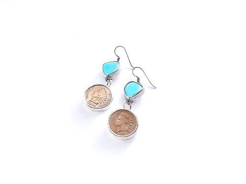 1901 copper penny earrings