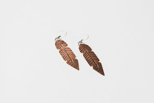 weathered feather earrings