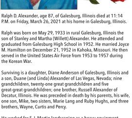 Ralph D. Alexander Obituary