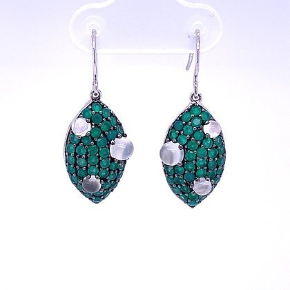 Emerald and moonstone earrings