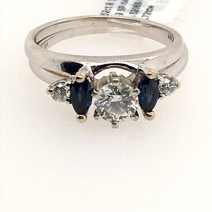 Diamond and sapphire wedding set