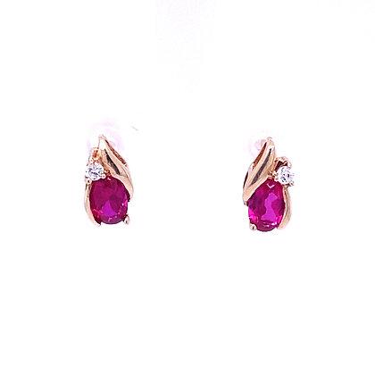 Ruby and white topaz earrings