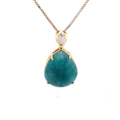 Aventurine and diamond necklace
