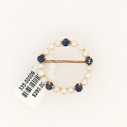 Pearl and sapphire brooch