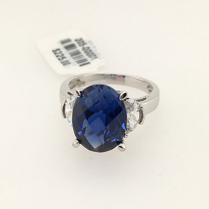 Lab-created sapphire and cubic zirconium ring