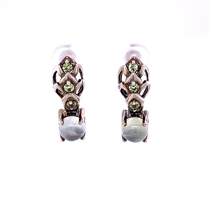 Moonstone and peridot earrings