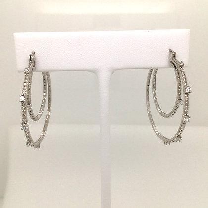 Cubic zirconium double hoop earrings