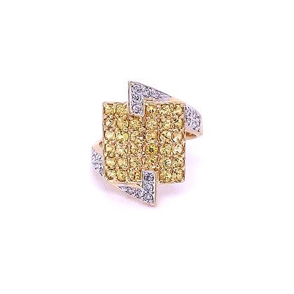 Diamond and tourmaline ring