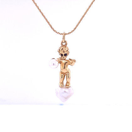 Pearl and sapphire angel necklace