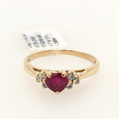 Ruby and diamond heart ring