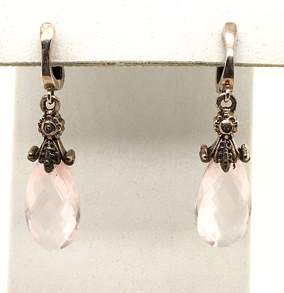 Quartz and diamond earrings