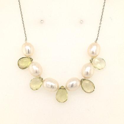 Lemon quartz and pearl necklace