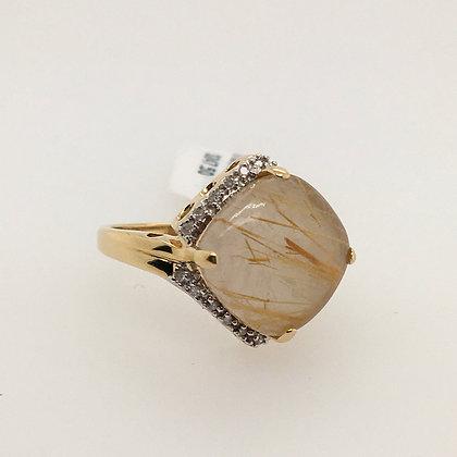 Rutilated quartz and diamond ring