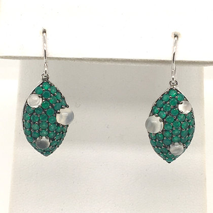 Emerald and moonstone earrings