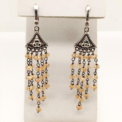 Quartz and diamond earrings